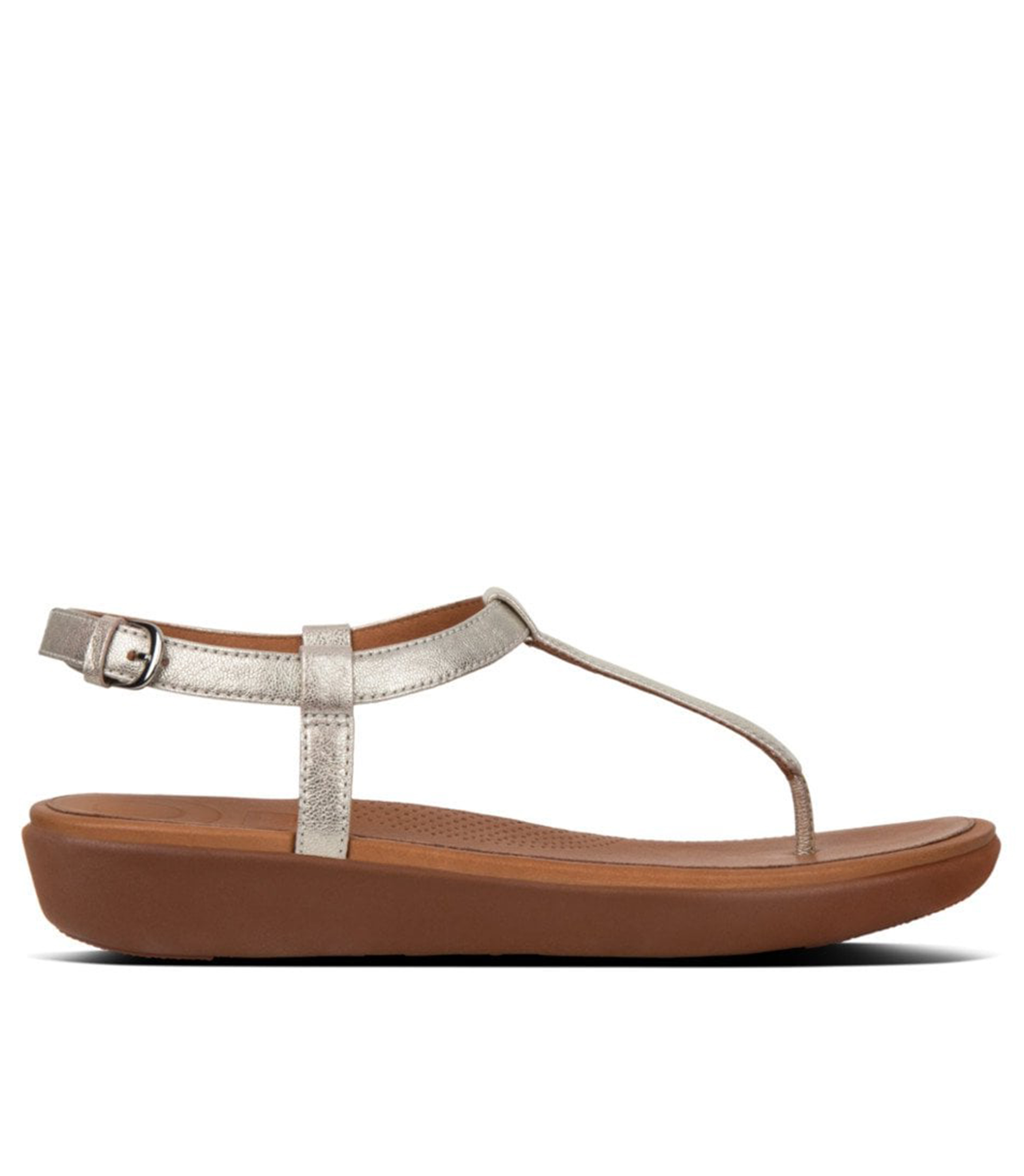 FIT FLOP SILVER LEATHER TIA TOE- THONG