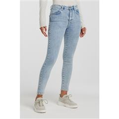 YAYA BLUE DENIM HIGH WAIST SKINNY JEANS WITH STONE WASH