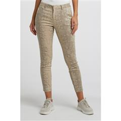 YAYA DARK SAND STRAIGHT TROUSERS WITH FISHBONE PRINT