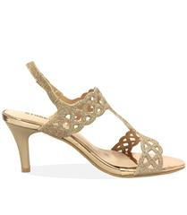 STACCATO CHAMPAGNE GLITTER SANDAL HEEL