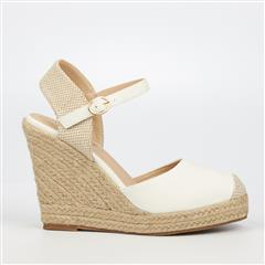 MISS BLACK- WHITE HOOKED ESPADRILLE WEDGE