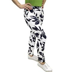 CALYPSO BRUSH PRINT 7/8 FLAT FRONT PANTS