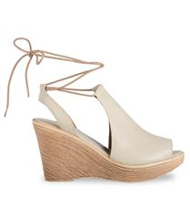 FROGGIE CREAM LEATHER HIGH WEDGE LACE- UP