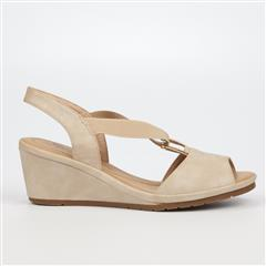 BUTTERFLY FEET BEIGE ENOS SANDAL WEDGE