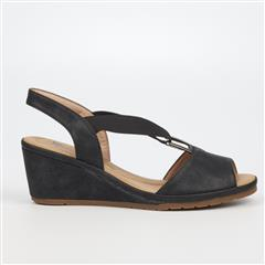 BUTTERFLY FEET BLACK ENOS SANDAL WEDGE