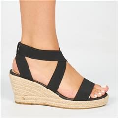 BUTTERFLY FEET BLACK QUANTOM ESPADRILLE WEDGE