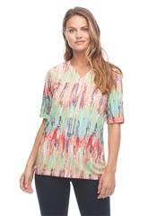 FRENCH DRESSING JEANS MULTICOLOUR TIE DYE PRINT EFFECT NOTCHED CREW NECK TOP