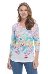 FRENCH DRESSING JEANS MULTICOLOUR CASCADING HEARTS PRINT V NECK TOP
