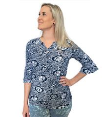 FRENCH DRESSING JEANS NAVY PANSY FLORAL PRINT NOTCHED CREW NECK TOP
