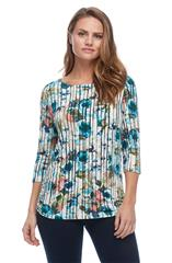 FRENCH DRESSING JEANS MULTICOLOUR VERTICAL STRIPE FLORAL BOAT NECK TOP