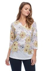 FRENCH DRESSING JEANS MULTICOLOUR FLORAL/DOT PRINT NOTCHED CREW NECK TOP