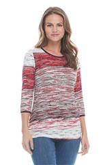FRENCH DRESSING JEANS RED MULTI HORIZON STRIPE TOP
