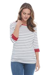 FRENCH DRESSING JEANS NAVY BOATNECK NAUTICAL STRIPE TOP