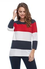 FRENCH DRESSING JEANS NAVY TEXTURED COLOR BLOCK STRIPE SWEATER