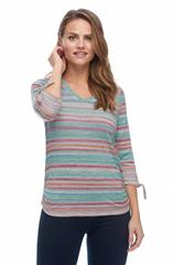 FRENCH DRESSING JEANS MULTICOLOUR VARIEGATED STRIPE V NECK TOP
