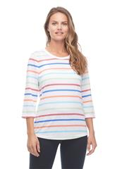 FRENCH DRESSING JEANS COLORFUL STRIPE TOP WITH BACK BUTTON DETAIL