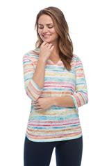 FRENCH DRESSING JEANS MULTICOLOUR PAINTED STRIPE NOTCH CREW NECK TOP
