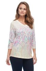 FRENCH DRESSING JEANS BUTTER MULTI FIELD FLOWERS PRINT V NECK TOP