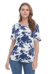 FRENCH DRESSING JEANS NAVY FLORAL SHADOW PRINT CREW NECK TOP
