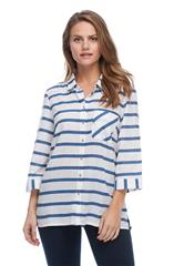 FRENCH DRESSING JEANS INDIGO NAUTICAL STRIPE BLOUSE