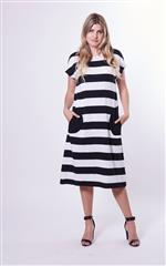 YARRA TRAIL BLACK WHITE STRIPED DRESS