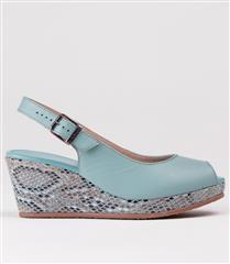 FROGGIE TURQUOISE LEATHER WEDGE SLING BACK