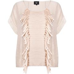 NU CHAMPAGNE DAWN BLOUSE WITH FRINGE