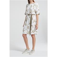 YAYA WHITE BELTED DRESS WITH SHORT SLEEVES AND BOTANIC PRINT
