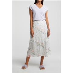 YAYA WHITE A- LINE SKIRT WITH BUTTONS AND FLORAL PRINT