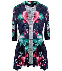 JOLIE NAVY TROPICAL PRINTED 3-4 SLEEVE REGAL JACKET