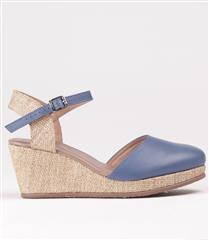 FROGGIE BLUE MULTI LEATHER SLING-BACK WEDGE WITH ANKLE STRAP