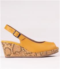 FROGGIE MUSTARD LEATHER WEDGE SLING BACK