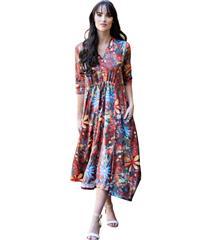 MASTIK RUST DAISY PRINT DRESS