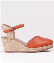 FROGGIE ORANGE MULTI LEATHER SLING-BACK WEDGE WITH ANKLE STRAP