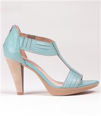 FROGGIE TURQUOISE LEATHER T-BAR HIGH HEELED SANDAL