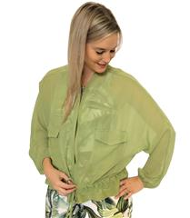 CALYPSO LEAF GREEN SHEER BOMBER JACKET