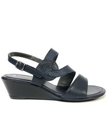 FROGGIE NAVY MULTI LEATHER WEDGE SLINGBACK