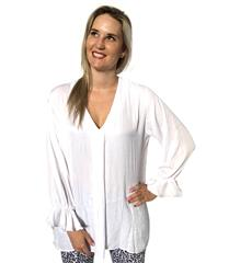 JOLIE WHITE VISCOSE BLOUSE WITH BELL SLEEVE