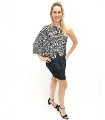 JOLIE BAM BAM BLACK GREY SHORT DRESS
