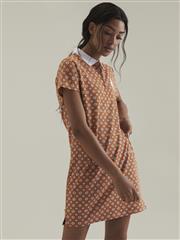 POLO ORANGE BRIGHT PRINTED AOP STRETCH GOLFER DRESS