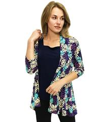 JOLIE SHEILA TURQUOISE NAVY LEAF PRINT REGAL JACKET