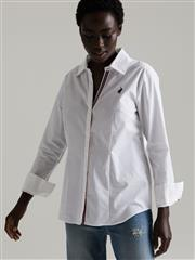 POLO WHITE SINDY JOHNNY COLLAR SHIRT WITH TAPE TRIM