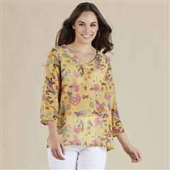 GORDON SMITH SORRENTO PRINT MARIGOLD TOP