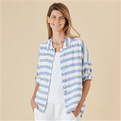 HAMMOCK & VINE INTO THE BLUE STRIPE LINEN JACKET