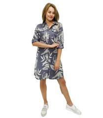 JOLIE ANNIE GREY BLUE LEAF PRINT SHIRT DRESS