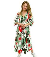 JOLIE WHITE GREEN FLOWER ELAINE DRESS