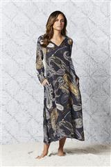ONE SEASON CHARCOAL CARMEL LONG IRIS KAFTAN DRESS