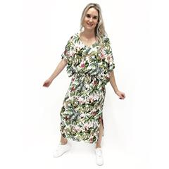 CALYPSO FLAMINGO PRINT VISCOSE MAXI DRESS