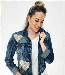 MADE IN ITALY BLUE DENIM SEQUIN JACKET
