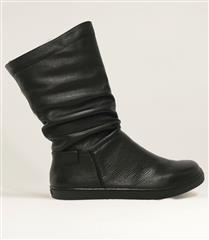 FROGGIE BLACK LEATHER RUCHED FLAT MIDI-BOOT
